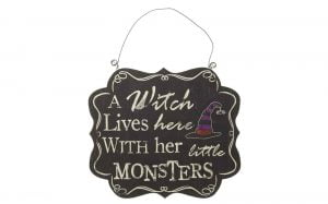 Witch and Monsters Halloween Sign