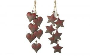 Red Metal Heart-Star Hanger