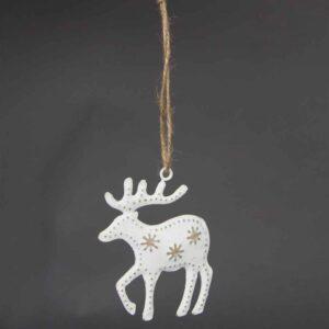 Snowy Hanging Reindeer Decoration