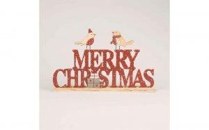 Spotty Birds Merry Christmas Standing Decoration