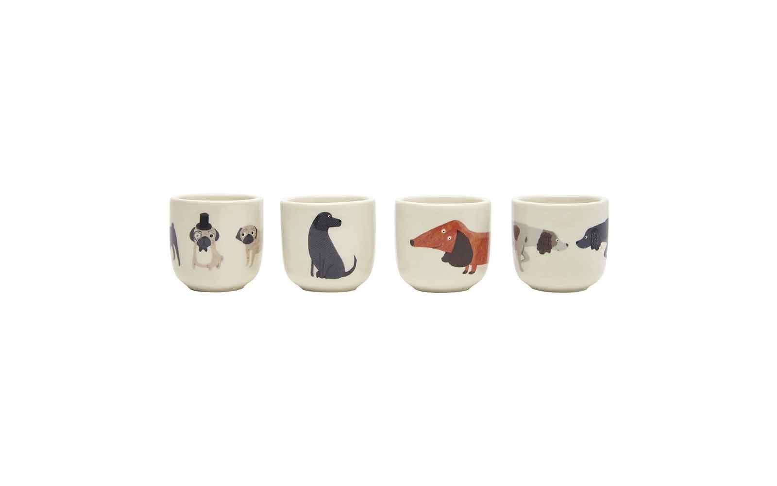 Set of 4 Dog Egg Cups