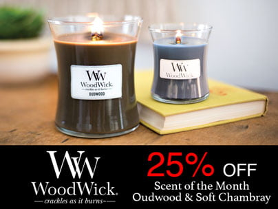 25% off Woodwick Scent of the Month