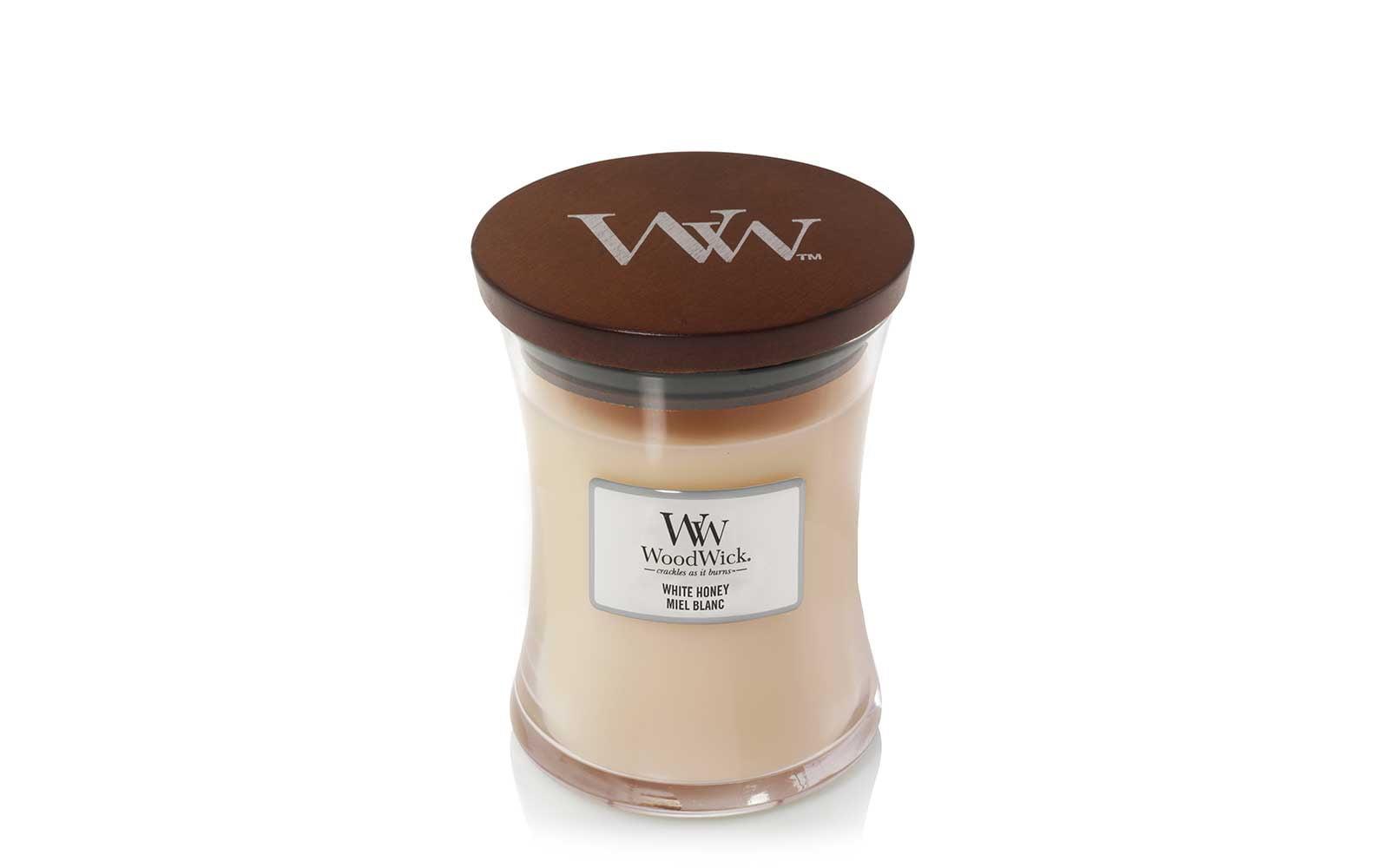 Woodwick Medium Candle in White Honey