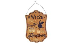 Witch Little Monsters Metal Sign Orange