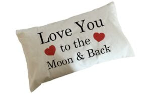 Love You to The Moon and Back Fair Trade Cotton Cushion With Feather Filler