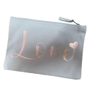 Love is Rose Gold Light Grey Organic Cotton Make Up Bag