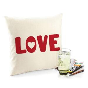 Love is Red Flock Fair Trade Cotton Cushion