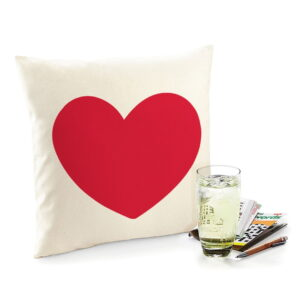 Love Heart is Red Flock Fair Trade Cotton Cushion with Feather Filler