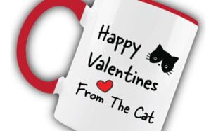 Happy Valentines from the Cat Red Mug
